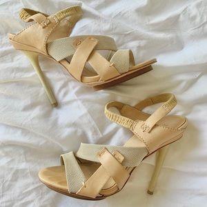 L.A.M.B. Leather Hi Heel Platform Sandals